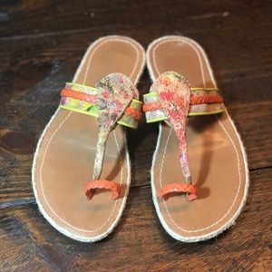 Johnston & Murphy colorful leather thong sandal